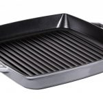 Staub Double handle square grill, grey 33 cm